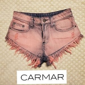 Carmar washed pink denim jean short shorts size 24
